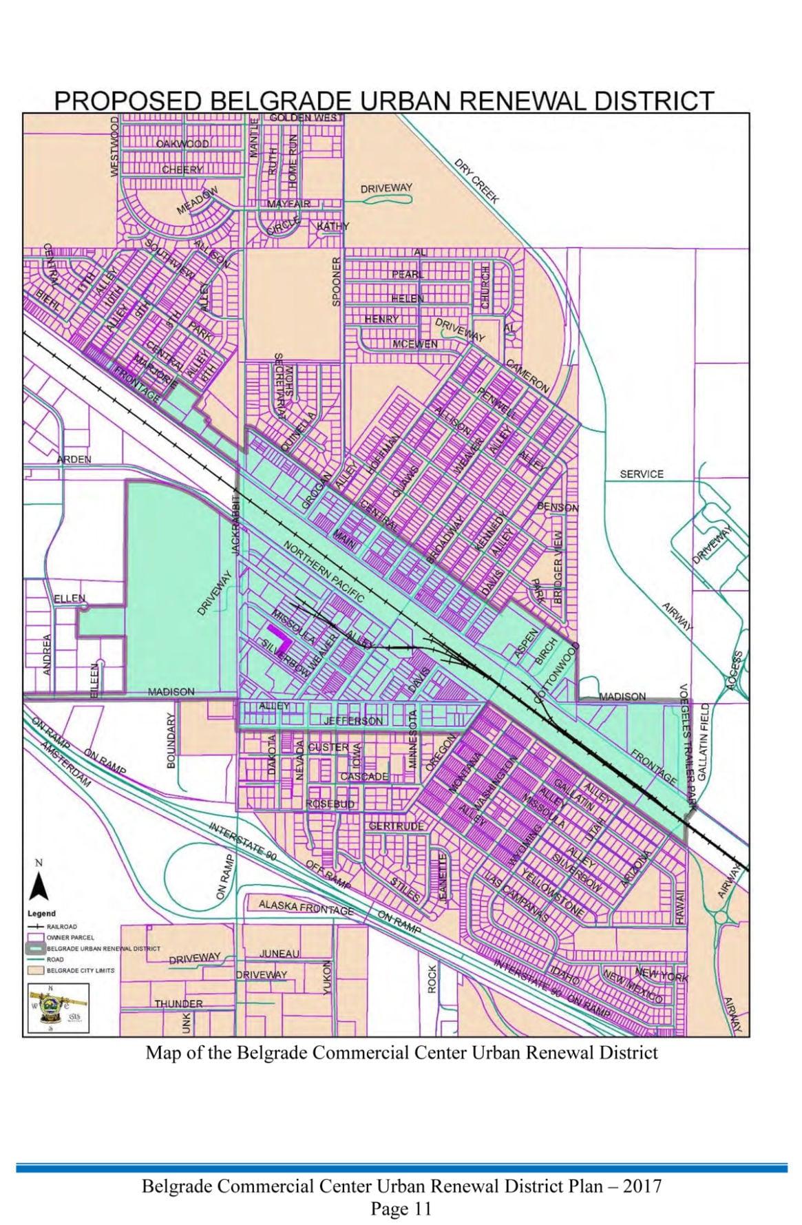 Proposed Belgrade Urban Renewal Map