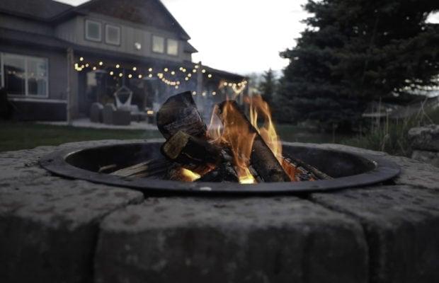 200 Forest Creek, backyard built in rock fire-pit