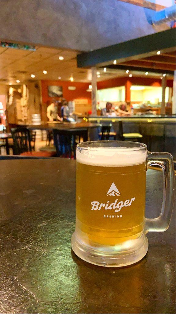 Pint of beer inside of Bridger Brewing