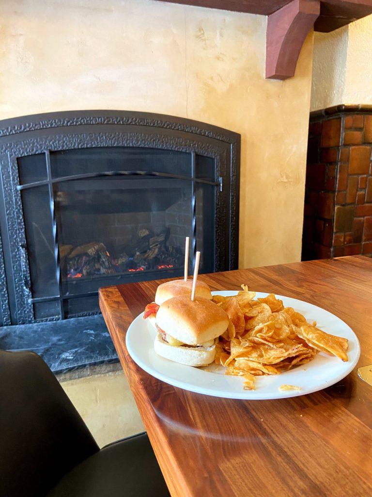 fireplace inside of bacchus pub