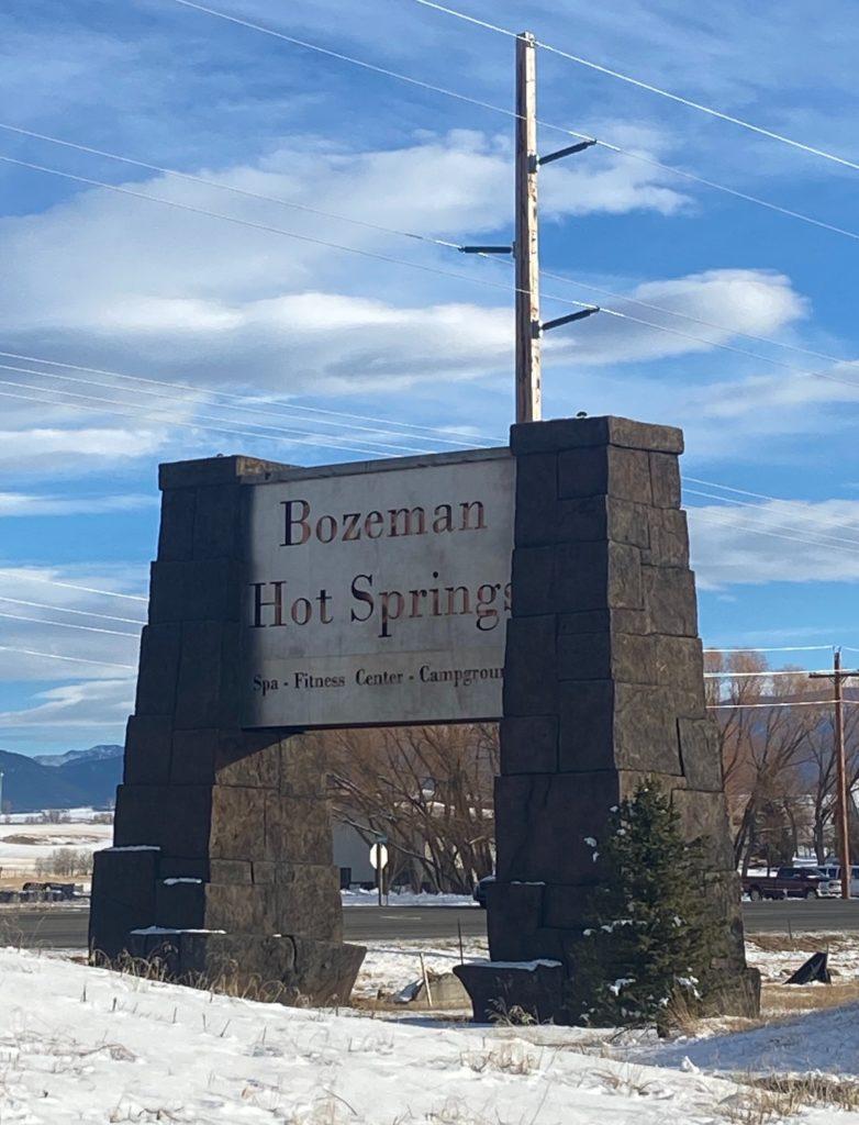 sign outside of bozeman hot springs