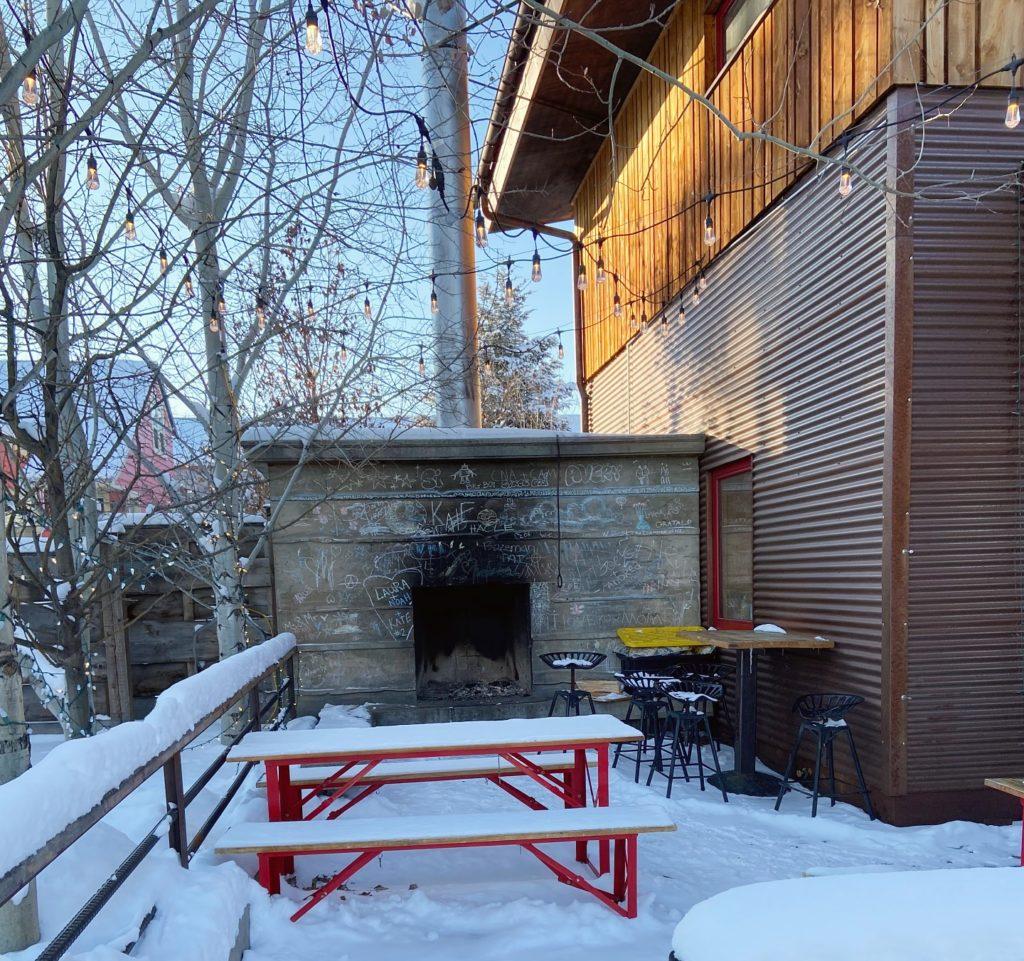 fireplace outside of lockhorn cider house